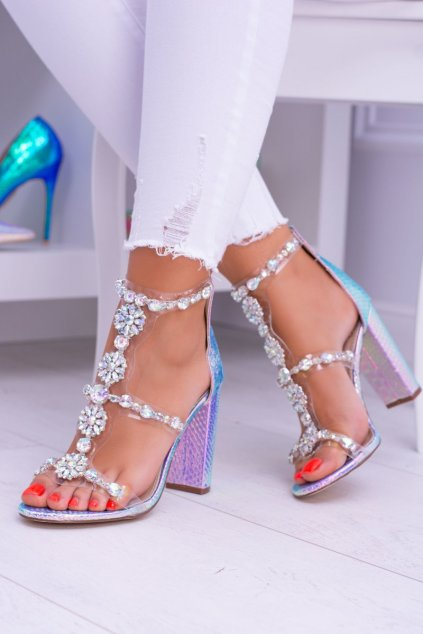 Dámske sandále na podpätku farba viacfarebná kód obuvi TAYLOR-19 PURPLE