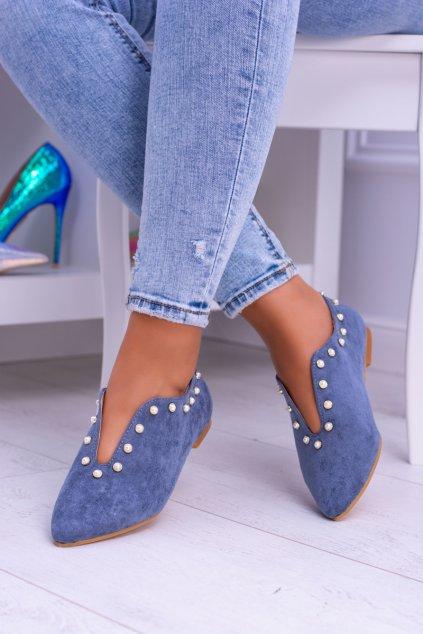 Lu Boo modré ploché topánky s výrezmi Merseo