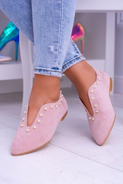 Lu Boo ružové ploché topánky s výrezmi Merseo