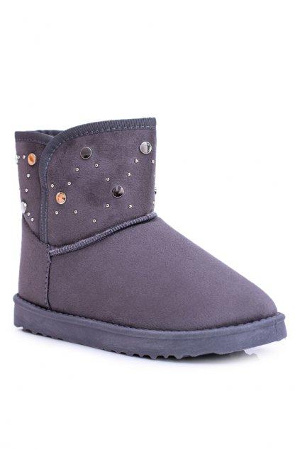 Dámske sivé teplé snehule semišové topánky B.gy