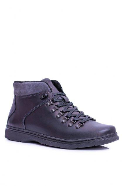 Pánske topánky na zimu farba čierna kód obuvi 288F BLK