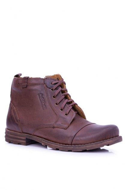 Pánske topánky na zimu farba hnedá kód obuvi 403 BROWN