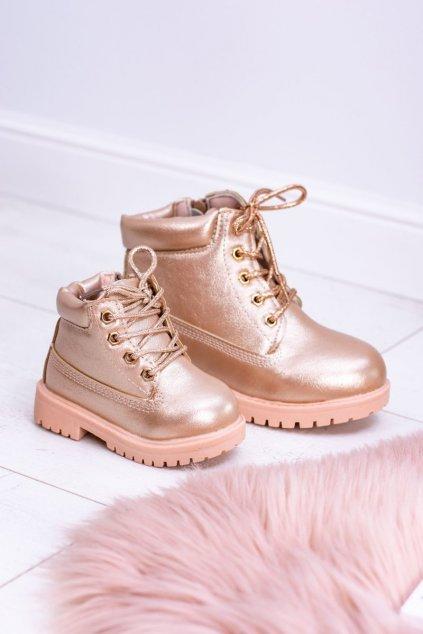 Detské topánky traper Zlate ružove Dexter