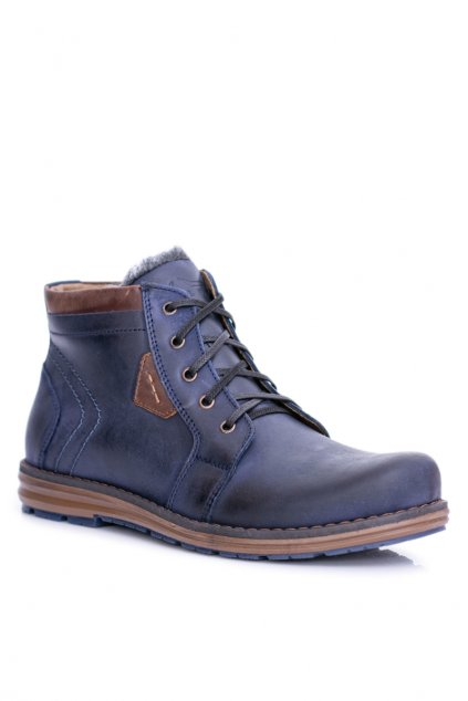 Pánské kožené topánky tmavo modré Teplé topánky Verno