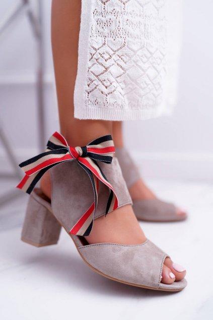 Dámske sandále na podpätku farba hnedá kód obuvi 04038-04/00-5 BEIGE