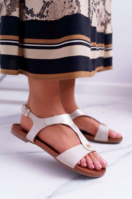 Dámske Sandále ploché Zlaté Verner
