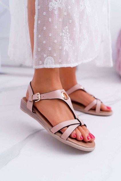 Dámske ploché sandále farba ružová kód obuvi 196-3 PINK
