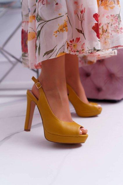 Dámske sandále na podpätku farba žltá kód obuvi SG8866 YELLOW