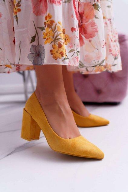 Dámske lodičky farba žltá kód obuvi LE060P YELLOW