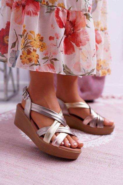 Dámske sandále na platforme farba žltá kód obuvi ESP27-25/00-1 CAVA COMBI