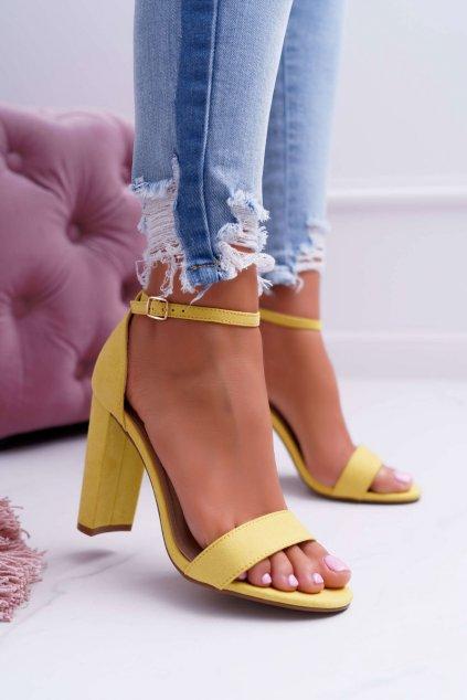 Dámske Semišové Sandále na podpätku žlté Anastasie