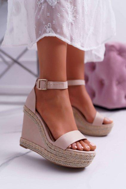 Dámske sandále Na klínku béžové Devon