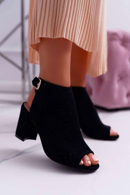 Dámske Sandále na podpätku Peep Toe čierne Florina