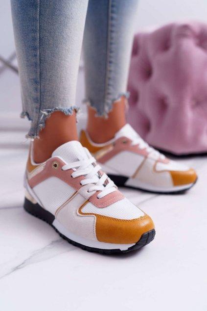 Dámske tenisky farba biela kód obuvi B01 WHITE YELLOW