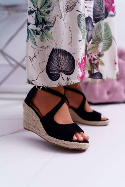 Dámske Sandále na kline čierne Margus