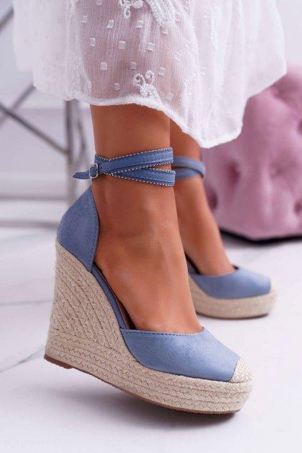 Dámske Sandále na klíne Modré Canterola