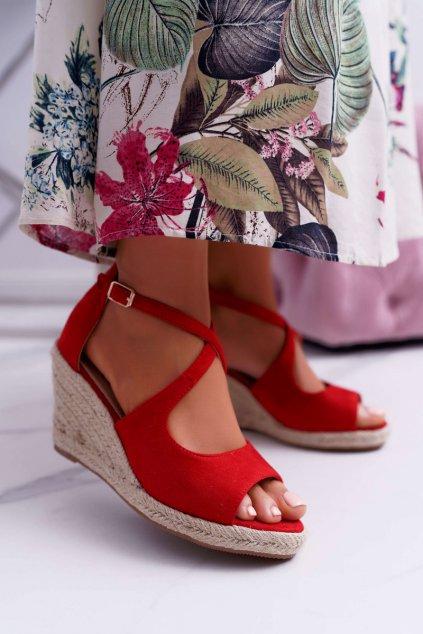 Dámske Sandále na kline červené Margus