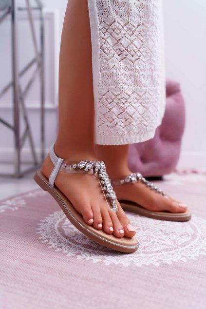 Dámske Sandále so zirkónmi Slip-on strieborné Satina