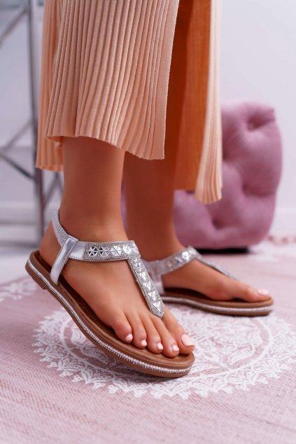Dámske Sandále so zirkónmi Slip-on strieborné Mabellena