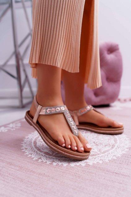 Dámske Sandále so zirkónmi Slip-on Champagne Mabellena