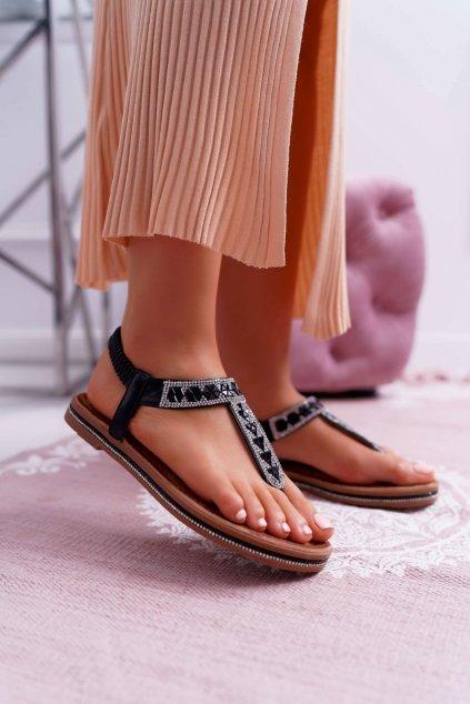 Dámske Sandále so zirkónmi Slip-on čierne Mabellena