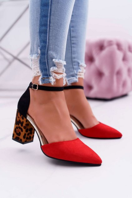 Dámske lodičky farba červená kód obuvi NC902 RED