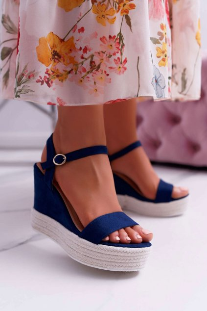 Dámske Sandále na kline tmavo modré Liviana