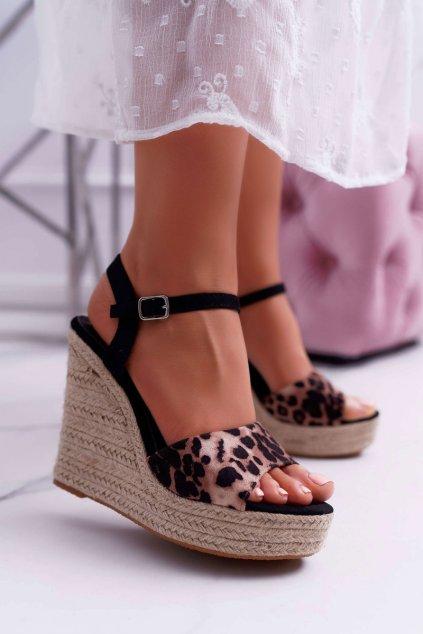 Dámske Sandále na kline leopardie Girenn