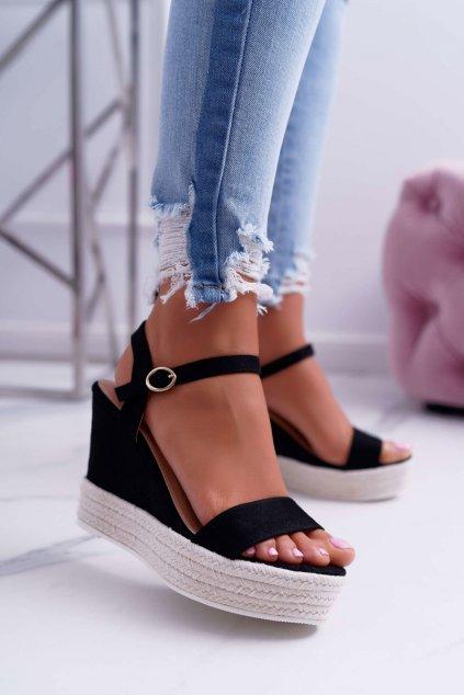 Dámske Sandále na kline čierne Liviana