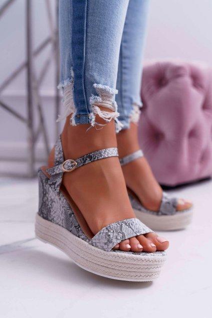 Dámske Sandále na kline hadia koža Liviana