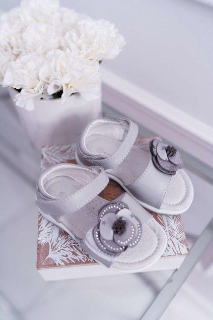 Detské Sandále pre dievčatá na suchý zips sivé Flamenko