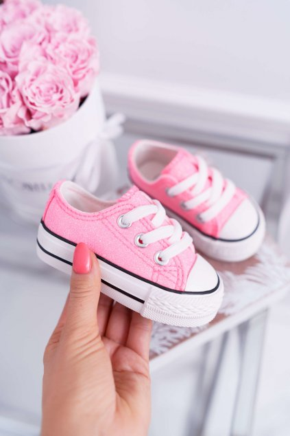 Detské tenisky s brokátom ružové Misty