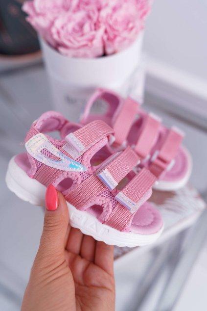 Detské Dievčenské Sandále na suchý zips Ružové Kimmi