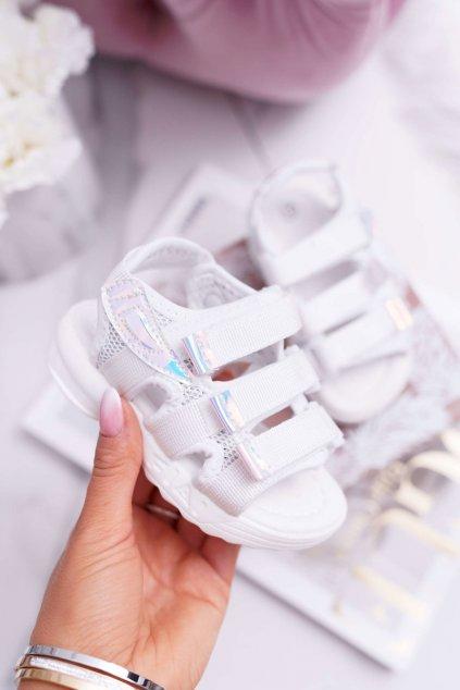 Detské Dievčenské Sandále na suchý zips biele Kimmi
