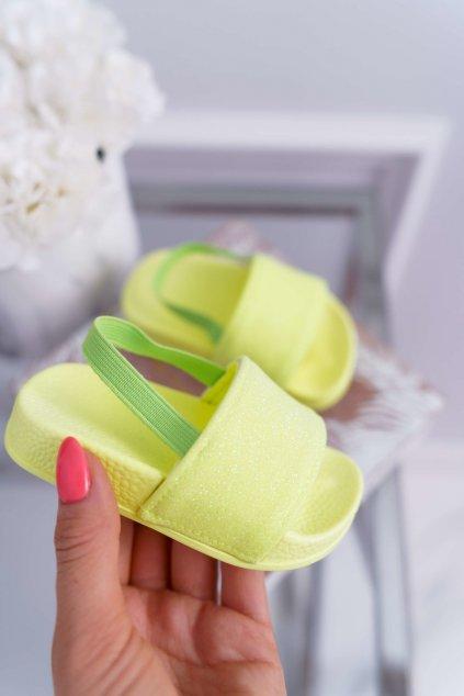Detské dievčenské šľapky s brokátom Limon Rimia
