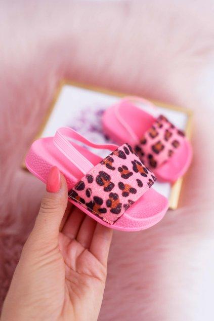 Detské šľapky farba ružová kód obuvi 291 FLUO PINK LEO