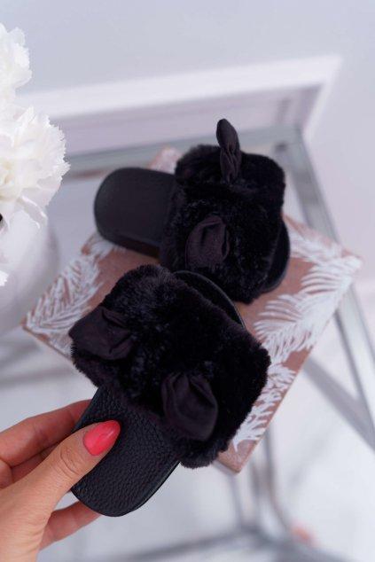 Detské Dievčenské šľapky s kožušinou čierne Thoa