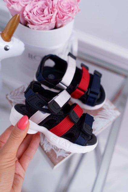 Detské sandále na suchý zips čierne Fima