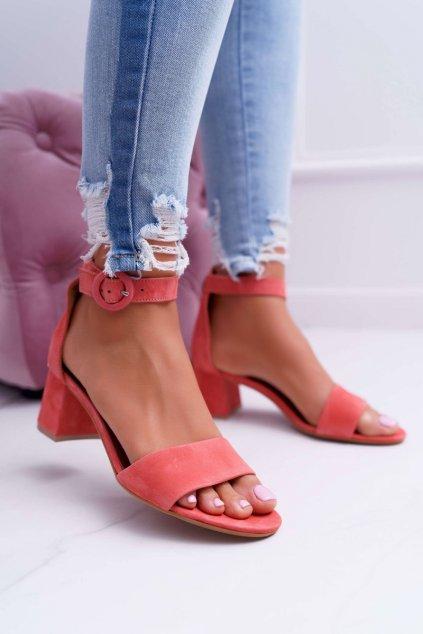 Dámske sandále na podpätku farba ružová kód obuvi 04141-15/00-5 PINK