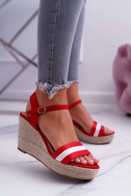 Dámske Sandále na kline Červené Renew