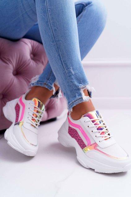 Dámska športová obuv s hrubou Podrážkou biele Lavish