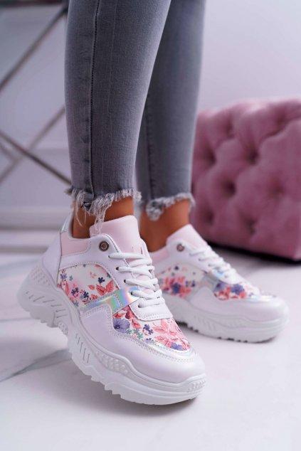 Dámska športová obuv s hrubou Podrážkou biele kvety Faline