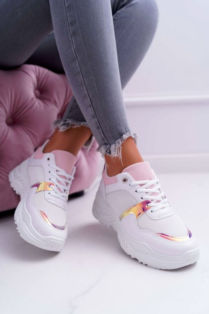 Dámska športová obuv s hrubou Podrážkou biele ružové Faline