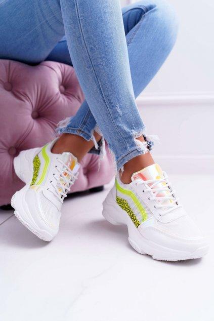 Dámska športová obuv s hrubou Podrážkou biele Fluo Lavish