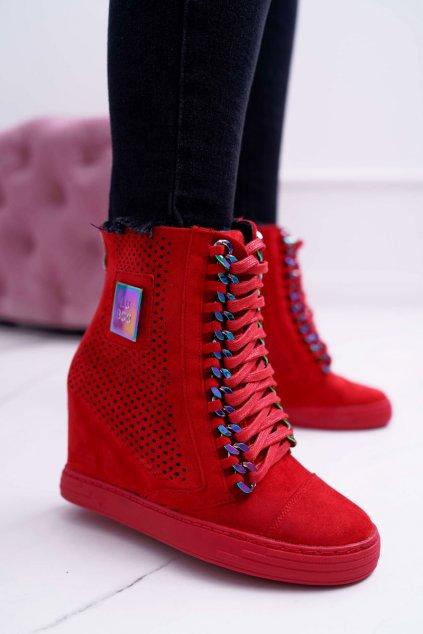 Dámska Obuv Sneakers Lu Boo Semišová Perforovaná červené Clamma