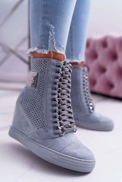 Dámska Obuv Sneakers Lu Boo Semišové Perforovane modré Clamma