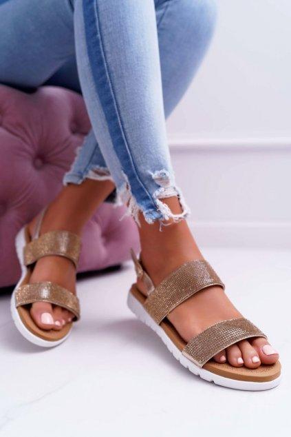 Dámske sandále s plochou podrážkou farba žltá kód obuvi 406-3 GOLD
