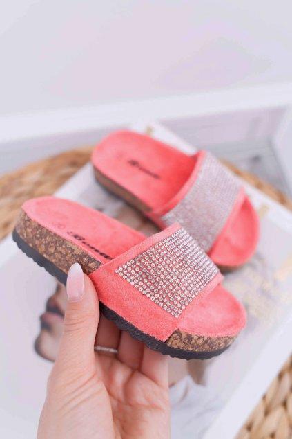 Detské korkové papuče korálove ružové Malena
