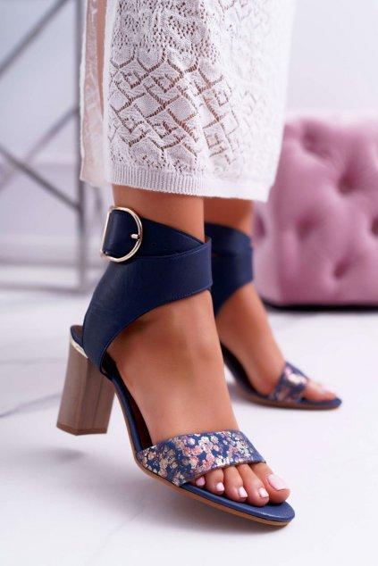 Dámske sandále na podpätku farba modrá kód obuvi 03597-17/00-5 GRANAT