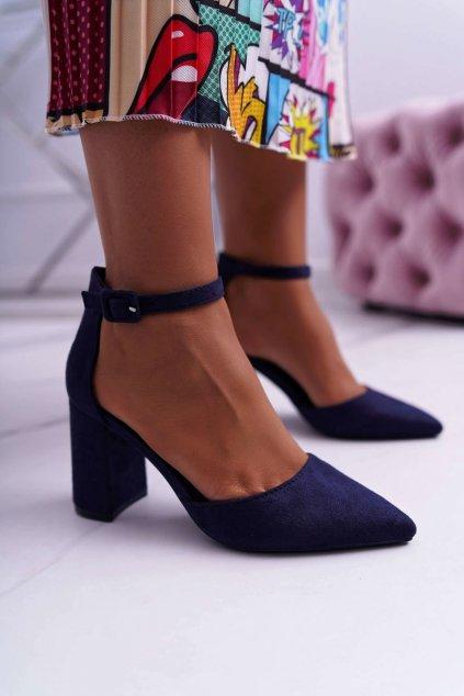 Dámske lodičky farba modrá kód obuvi LL186 BLUE